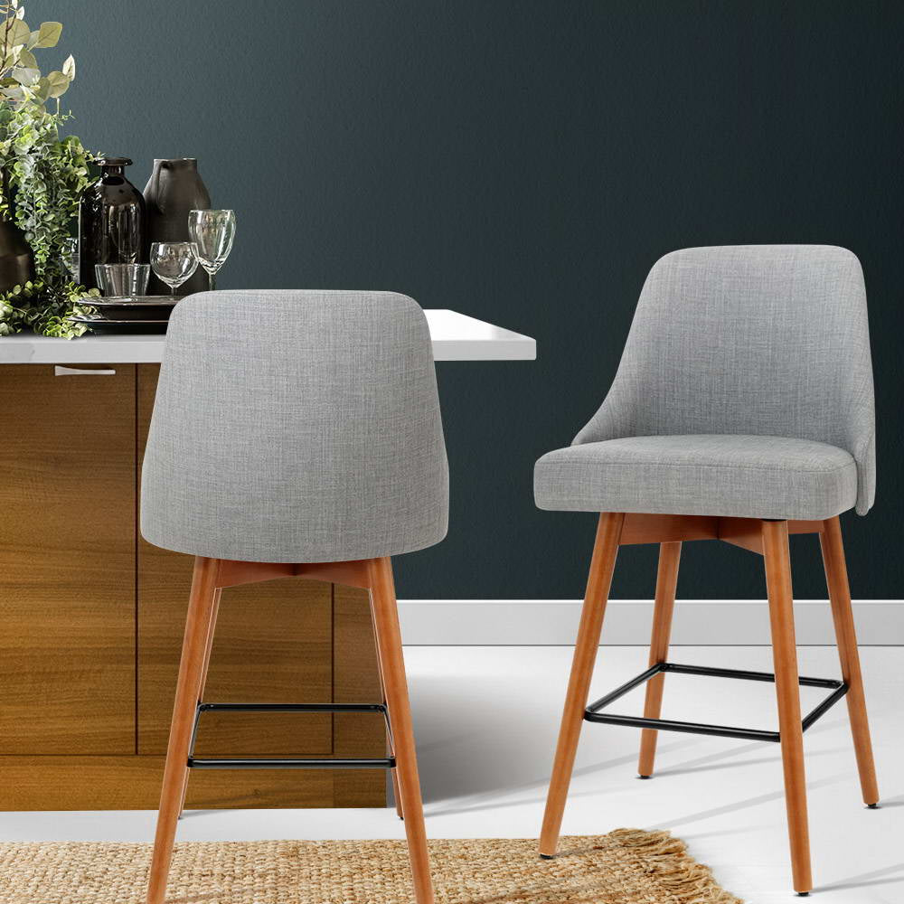 Artiss 2x Wooden Swivel Bar Stools - Fabric Light Grey