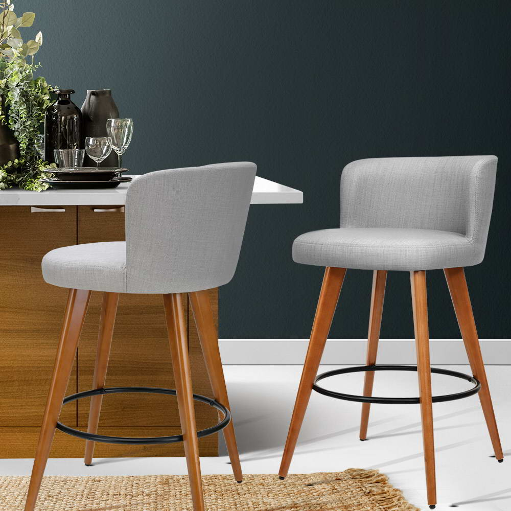 Artiss 2x Wooden Bar Stools - Fabric Light Grey