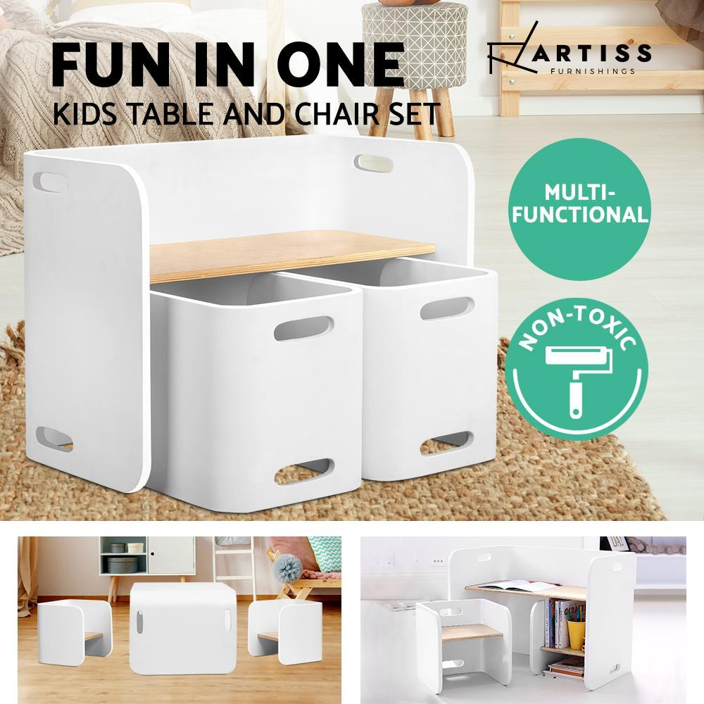 Artiss Kids Table and Chair Set Study Desk Dining White