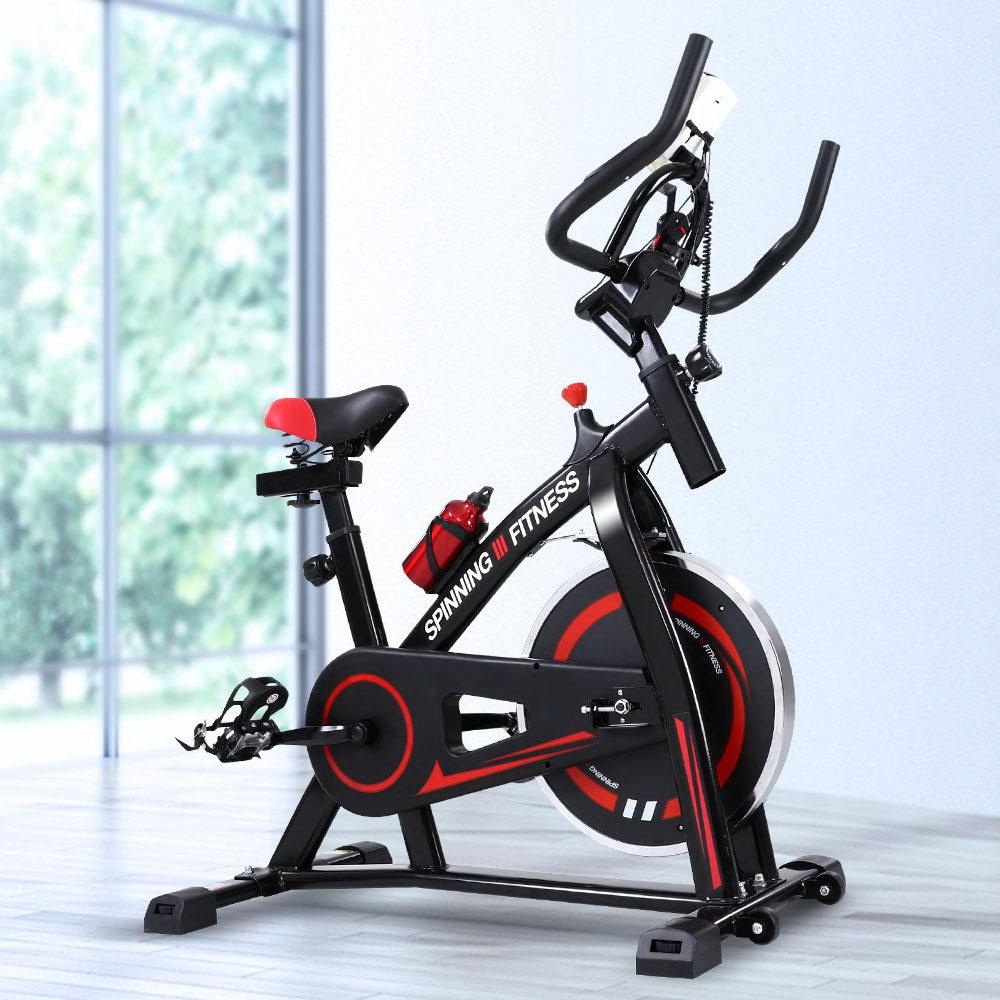 Spin Exercise Bike Flywheel Fitness Commercial Home Workout Gym Machine Bonus Phone Holder Black