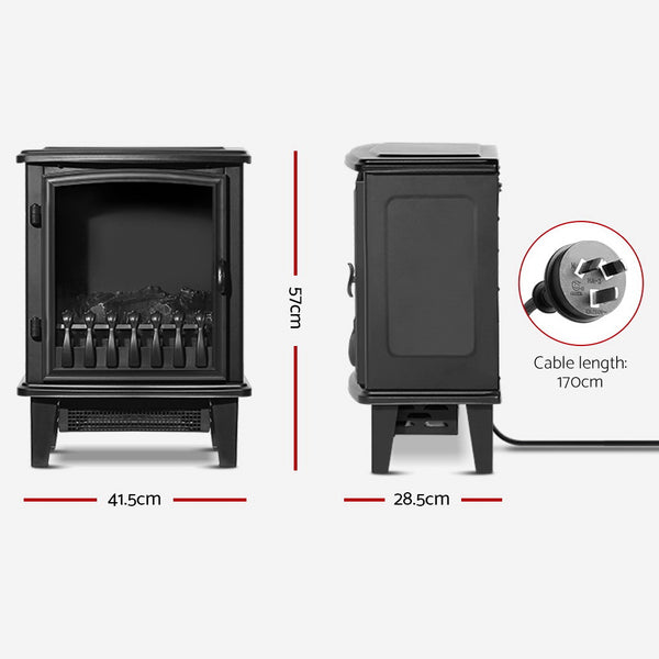 Devanti Electric Fireplace Portable Wood Heater with Flame Effect - 1800W