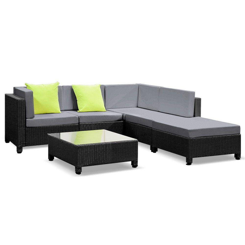 Gardeon 6PC Sofa Set Lounge Setting Outdoor Furniture Wicker Couches Garden Patio Pool