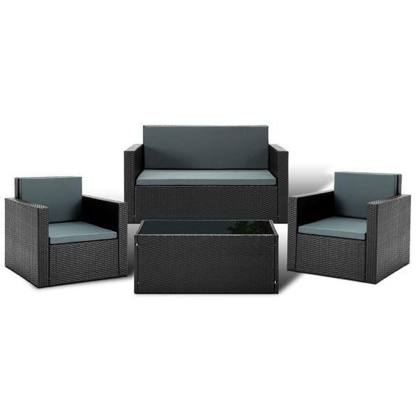 Gardeon 4 Piece Outdoor Wicker Furniture Set - Black