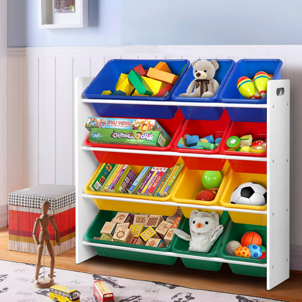 Keezi 12 Plastic Bins Kids Toy Organiser Box Bookshelf Storage Rack Cabinet