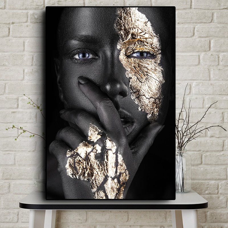 African Black and Gold Woman - Oil Painting on Canvas