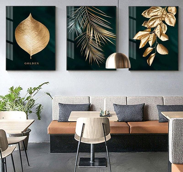 Abstract Golden Plant Leaves - Canvas Paintings