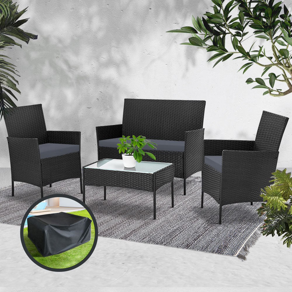 Gardeon Garden Outdoor Lounge Setting (Wicker) with Sofa Patio Storage Cover Black