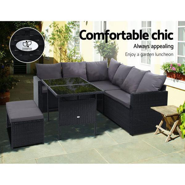 Gardeon Outdoor Furniture Dining Setting Wicker 8 Seater With Storage Cover Black