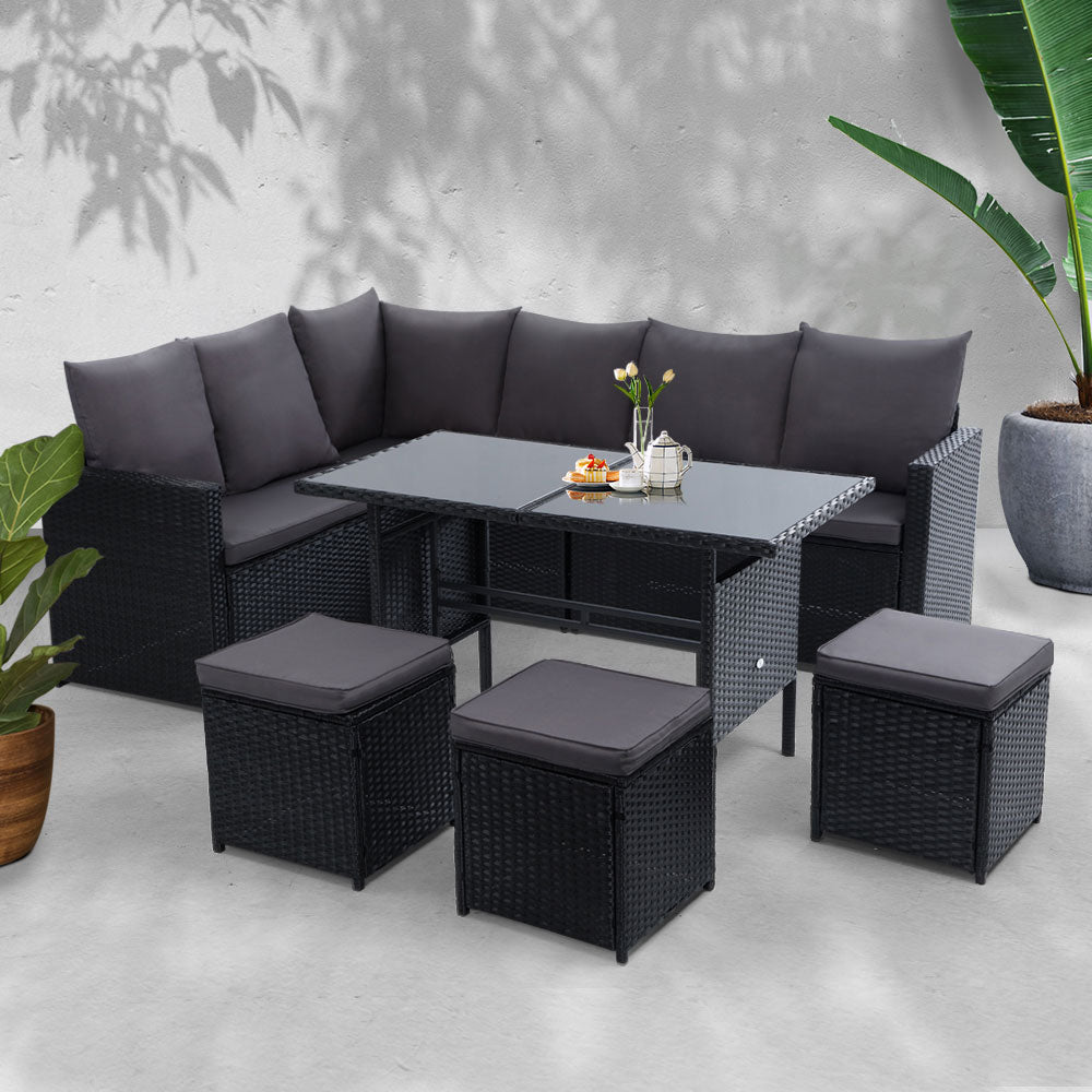 Gardeon Outdoor Furniture Dining Setting Wicker 9 Seater Black
