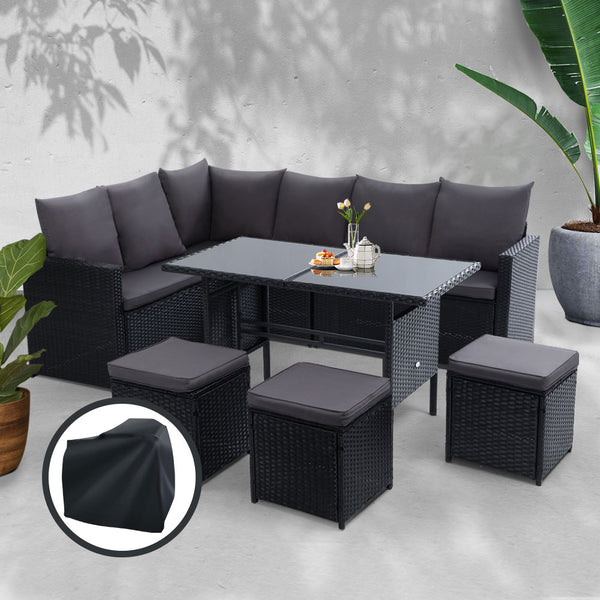 Gardeon Outdoor Furniture Dining Setting Wicker 9 Seater With Storage Cover Black