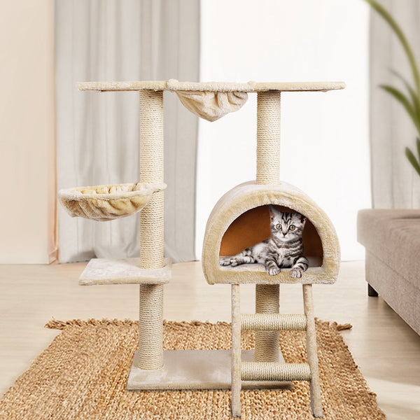 i.Pet 100cm Multi Level Cat Scratching Post - Beige
