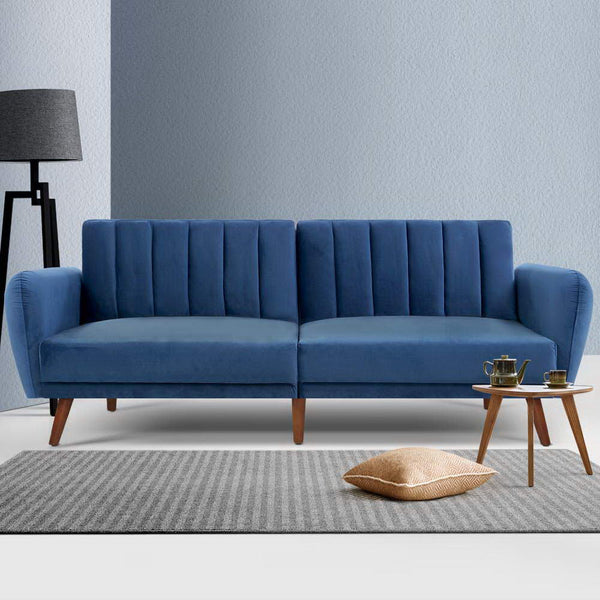 Artiss Sofa Bed Lounge 3 Seater - Velvet Blue
