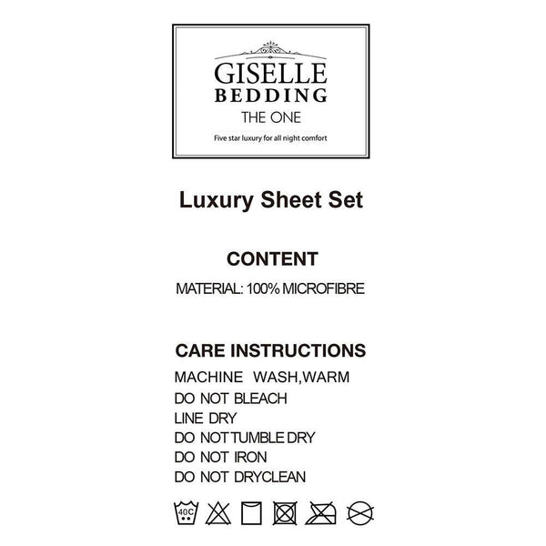 Giselle Bedding Queen Size 4 Piece Micro Fibre Sheet Set - Grey