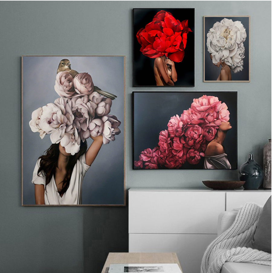 Abstract Floral Women Canvas Paintings