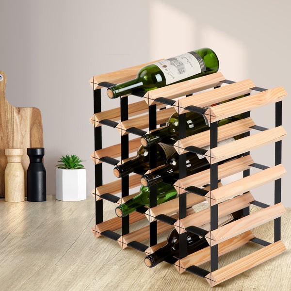 Artiss 20-Bottle Timber Wine Rack