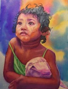 "Cambodian Girl - 11""x14"" watercolor by Paulette Triplett"