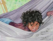"Child in Hammock - 9""x 11"" watercolor by Paulette Triplett"