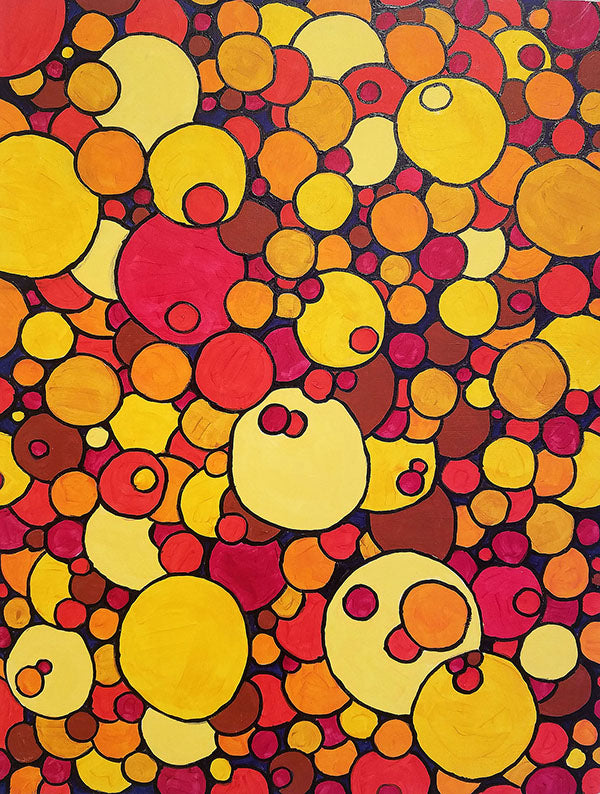 Circles -- acrylic on cradleboard by Al B Johnson