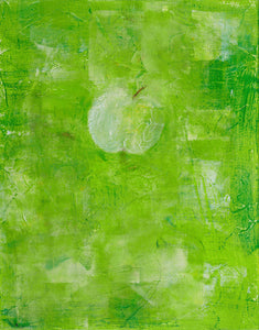 "Granny Smith - 14""x 11"" acrylic and oil pastel by Cass Mullane"