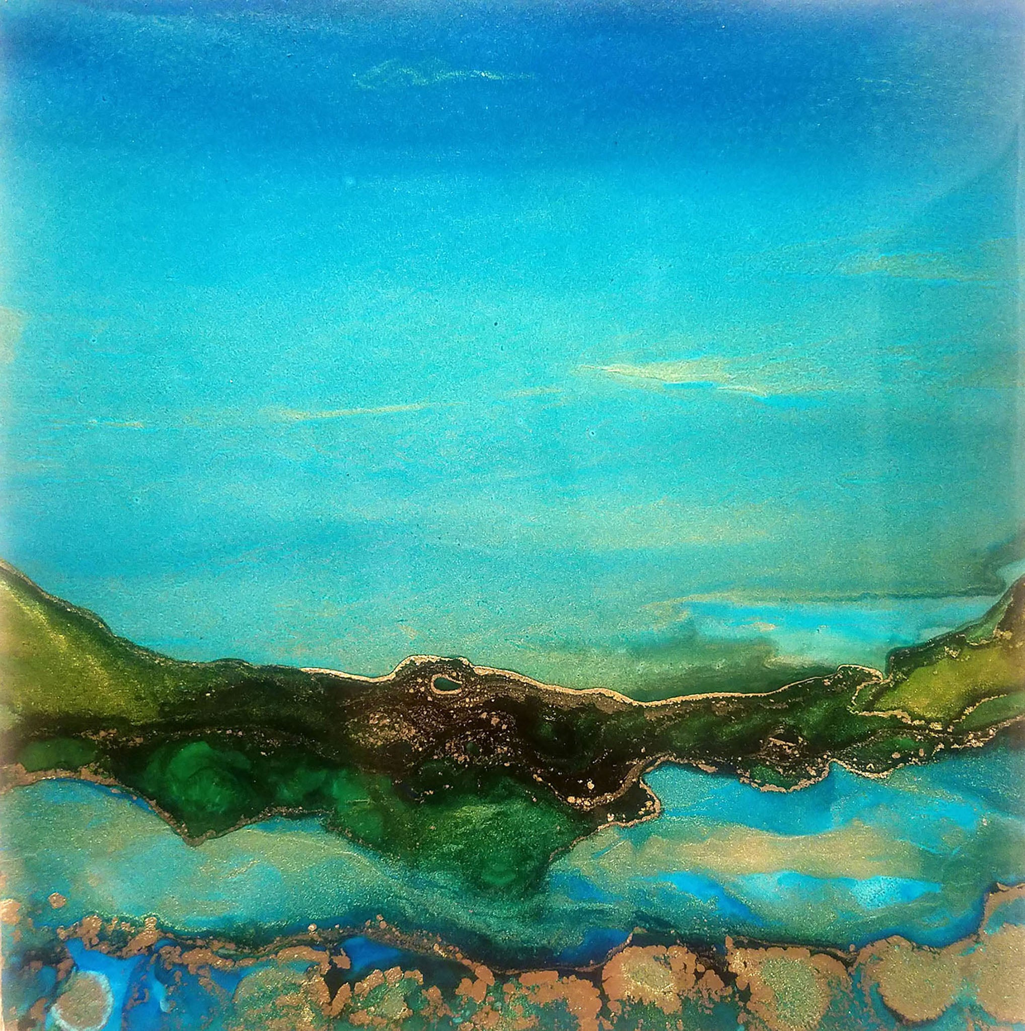 "Deep Blue - 8""x 8"" alcohol ink painting by Cindy Brinkman"