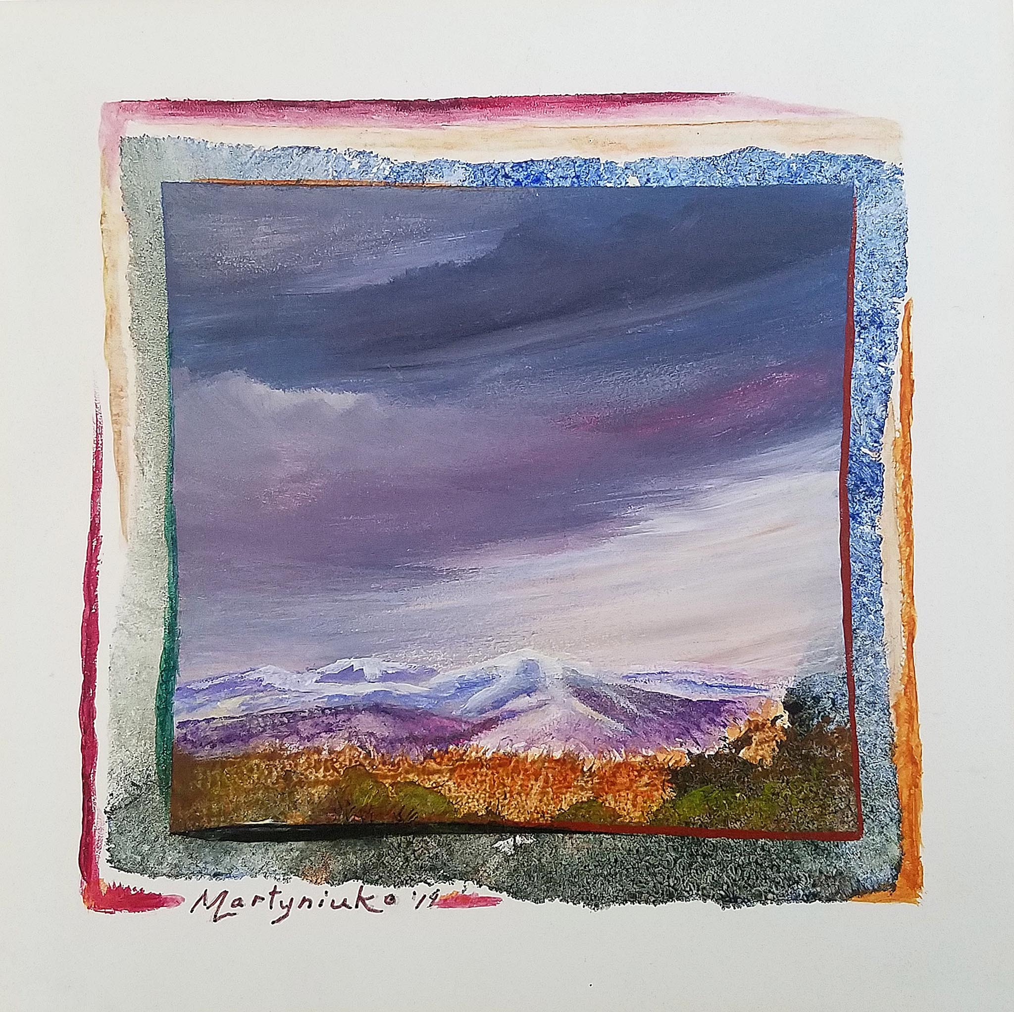 "Hills of Autumn -8"" x 8"" acrylic painting by Larysa Martyniuk"