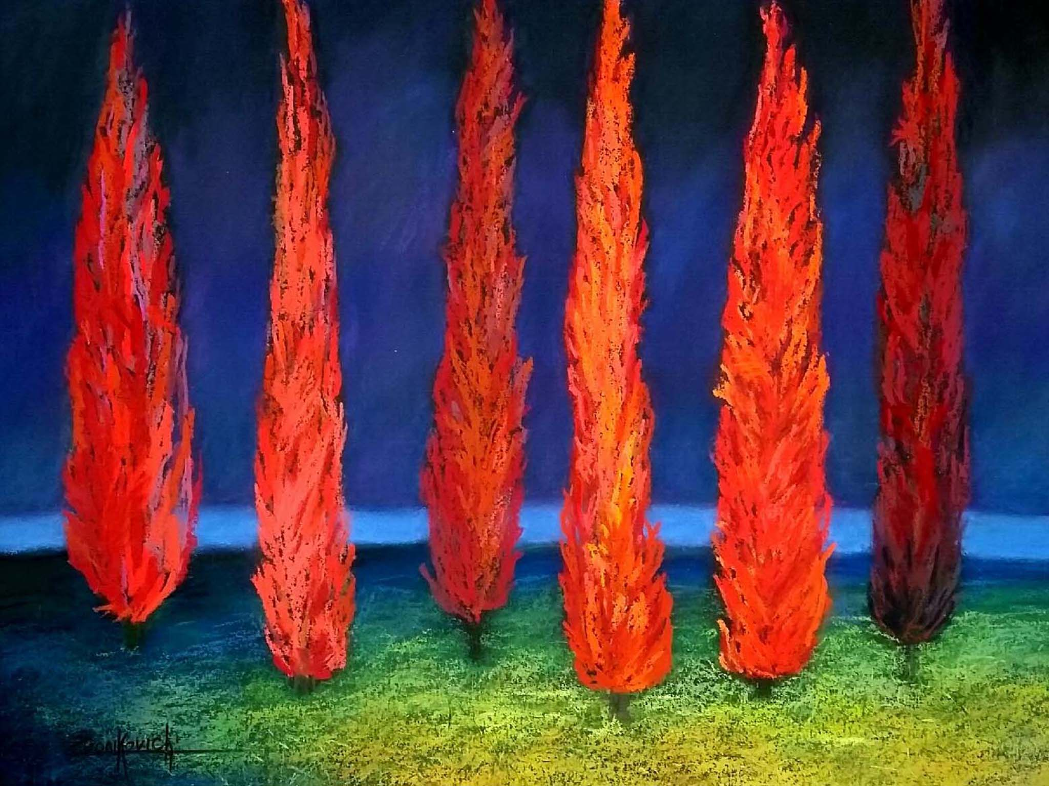 Six Red Cypresses