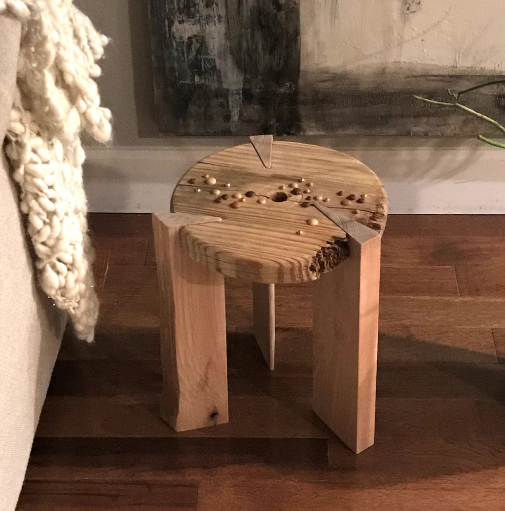 Stool: Salvaged Pine & Hickory