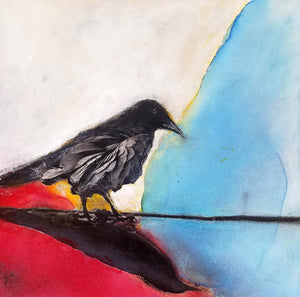 "Calling Crows No. 8 - 12""x 12"" Alcohol Ink, Collage, Mixed Media by Teri Homick -- unframed"
