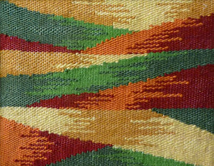 "12""x 16"" tapestry by Susan Tormoen - Abstract with Green & Red"