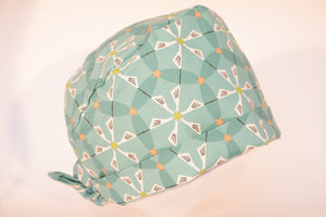Storks in Geometric Pattern on Teal