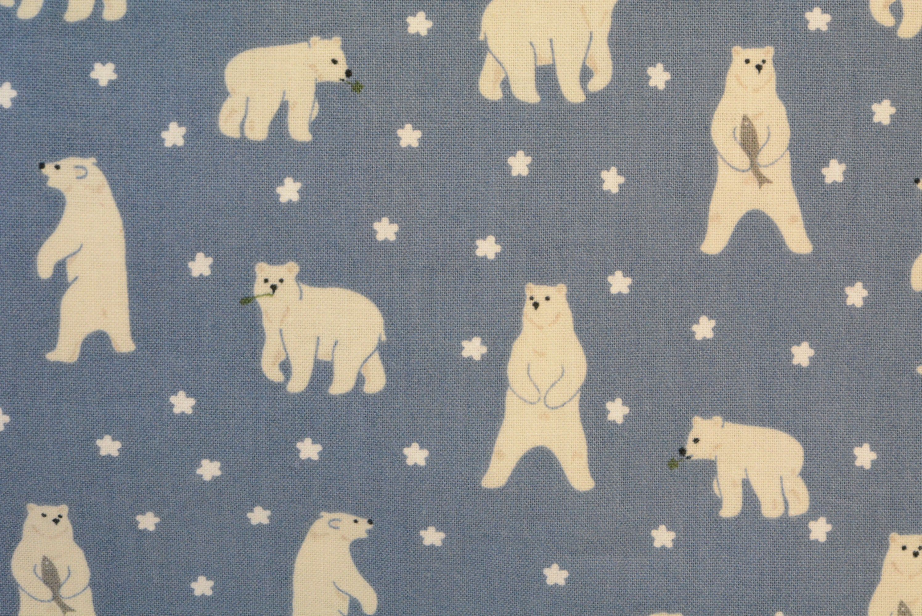Polar Bear with Scarf on Blue