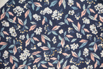 Load image into Gallery viewer, Little White Jasmine with Pink and Blue Leaves on Dark Blue
