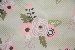 Roses on Pastel Green with Polka Dots - *Rose Gold Print*