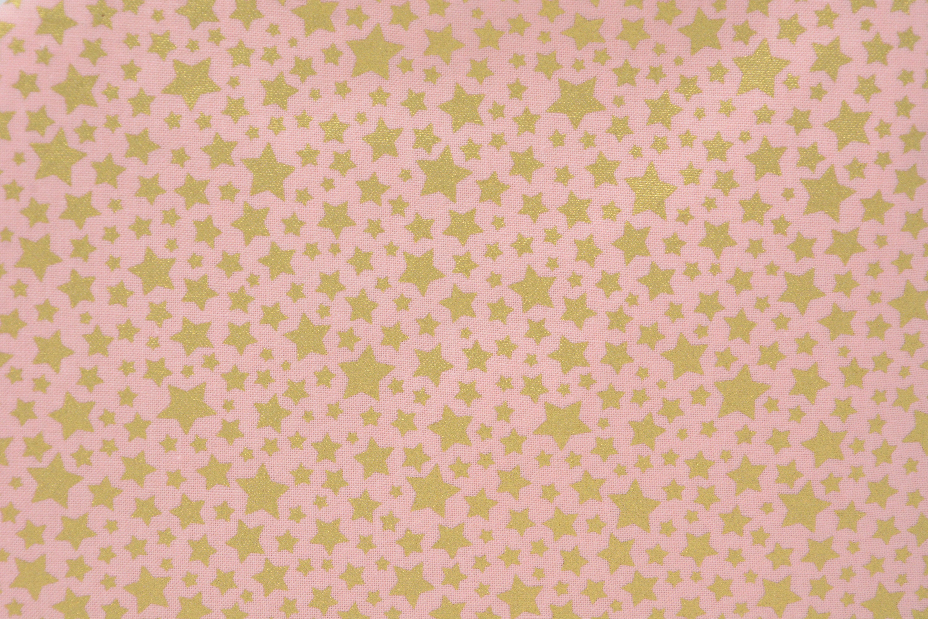 Gold Stars on Pink with *Gold Print*