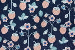 Load image into Gallery viewer, Strawberries and Flowers on Navy Blue