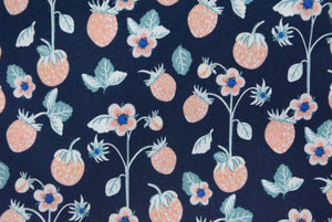 Strawberries and Flowers on Navy Blue