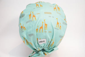 Giraffe and Baby on Blue