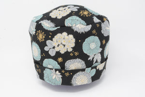 Japanese Floral with *Gold Metallic Print - Cotton Linen Fabric*