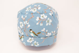 Sparrow and Apple Blossom - Pastel Blue