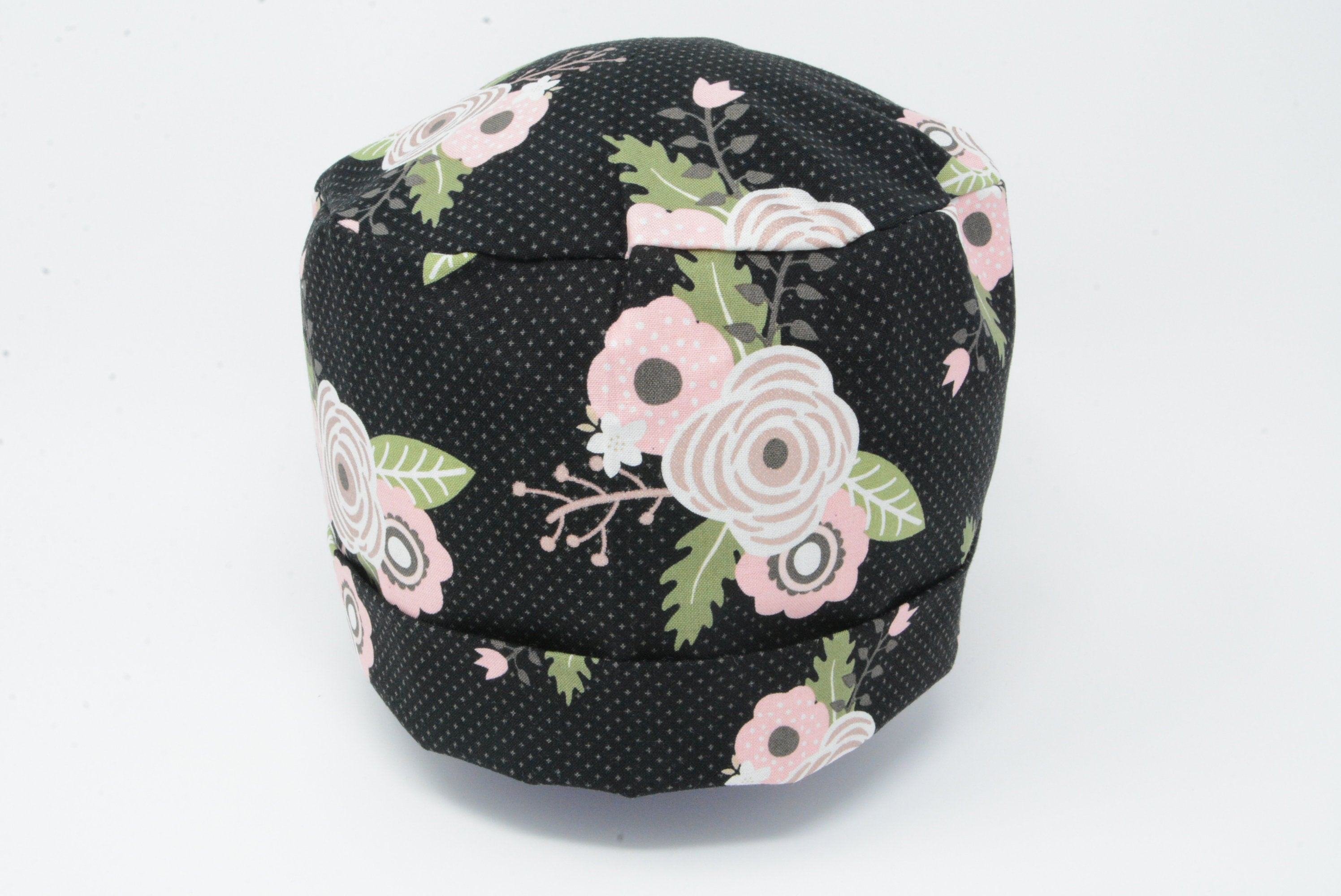 Roses on Black with Polka Dots *Rose Gold Print*