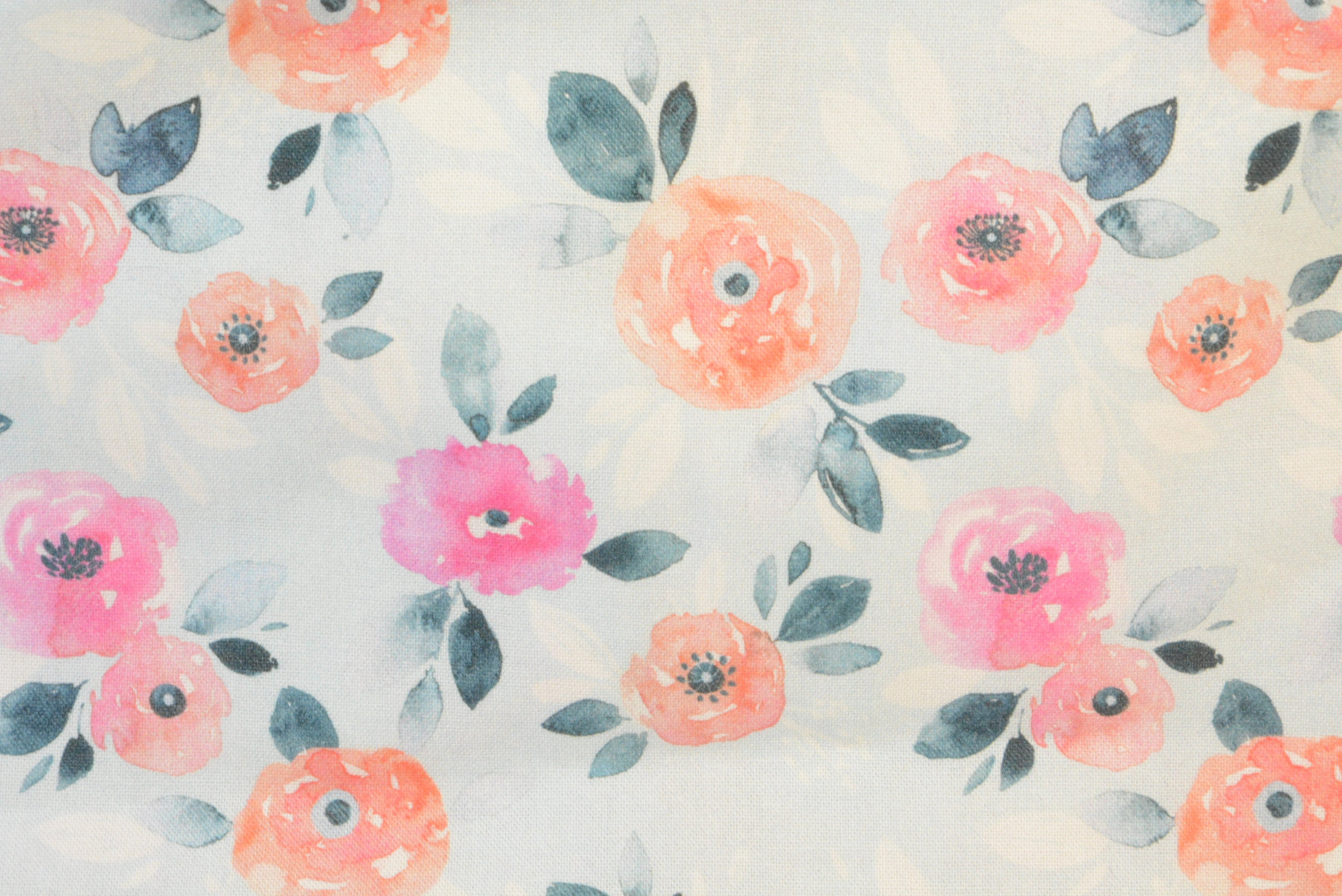 Coral and Pink Watercolor Floral on Icy Blue