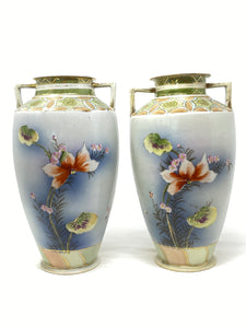 Antique Imperial Nippon Pair of Hand Painted Vases
