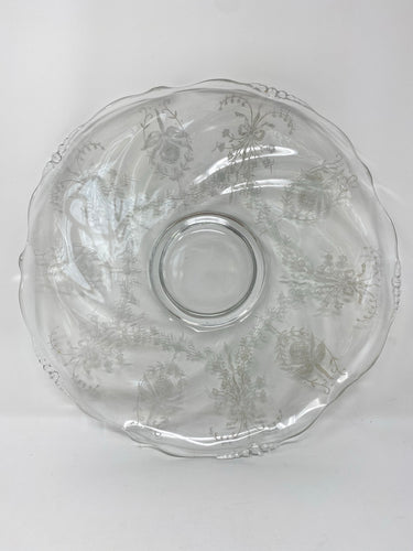 "Heisey Etched Crystal ""Orchid"" Sandwich Platter 14"""