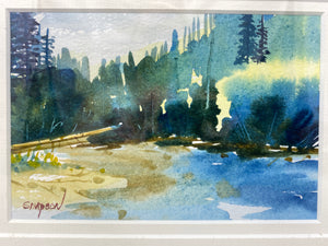Set of 3 Matted & Framed Mike Simpson Original Watercolors