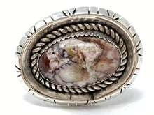 Load image into Gallery viewer, Navajo Designer Signed TS Large Sterling & Wild Horse Turquoise Ring Size 8.5