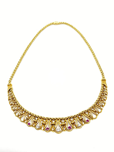 18K Gold, Diamond, & Ruby Princess Necklace