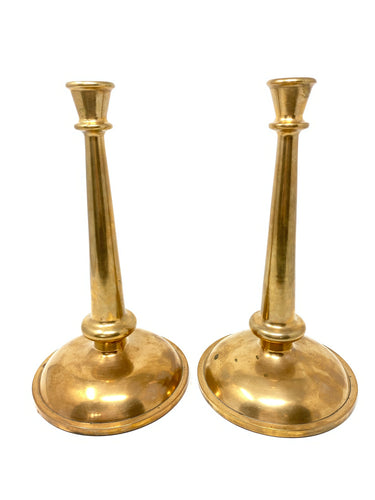 Pair of Heavy Antique Solid Copper Candlesticks