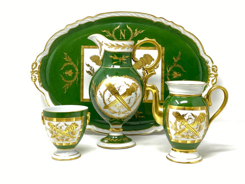 Limoges France 4 Pc Bees Gilt & Green Napoleonic Service Set