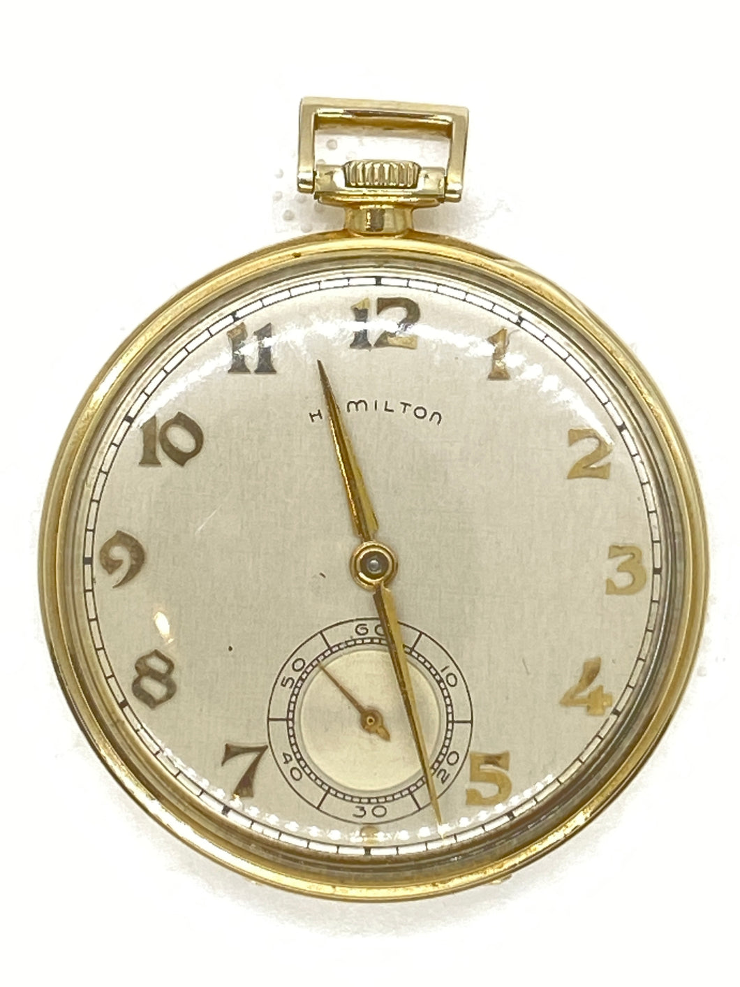 1950-51 Hamilton 921 21J 10S GF MDL-1 Open Face Pocket Watch Greyhound Bus Gift