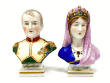 Load image into Gallery viewer, Napoleon & Josephine Pair of Miniature European Chelsea Porcelain Busts